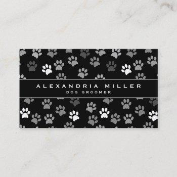 black & white puppy dog paw prints | pet groomer business card