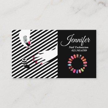black & white stripes nail technician business card