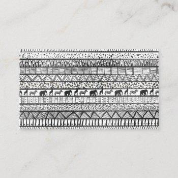 black white tribal african pattern trendy design business card