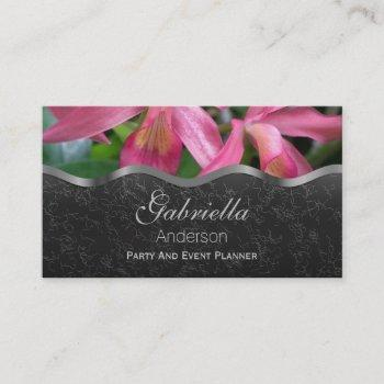 black with pink lily business cards