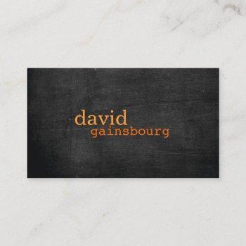 black wood orange typography business card
