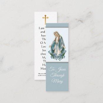 blessed virgin mary with prayer mini holy card