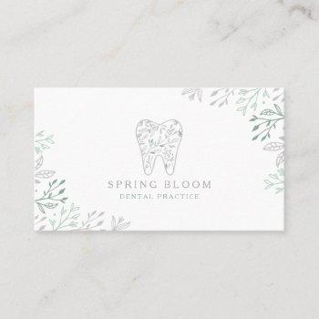 blooming flourishing dental tooth tree logo business card