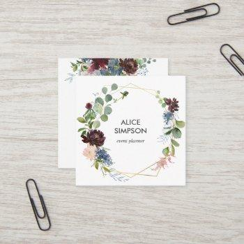 blue and burgundy watercolor floral geometric square business card