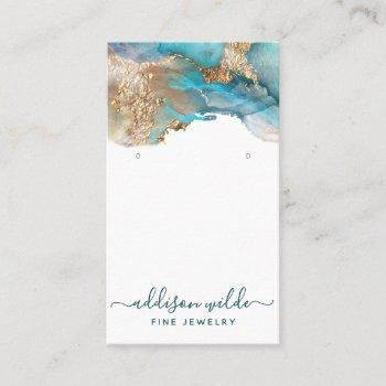 blue and gold modern art jewelry earring display business card