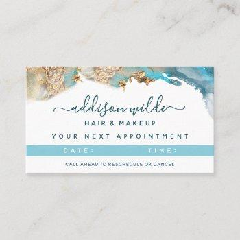 blue and gold modern art liquid watercolor ink appointment card