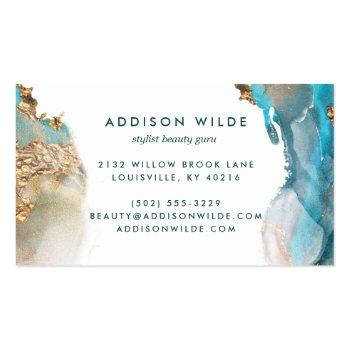 Small Blue And Gold Modern Art Liquid Watercolor Ink Business Card Back View