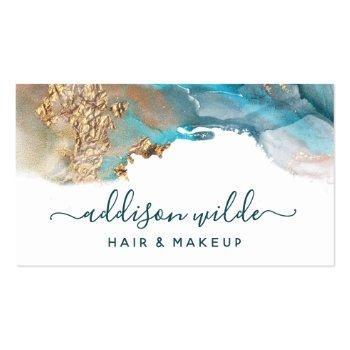 Small Blue And Gold Modern Art Liquid Watercolor Ink Business Card Front View
