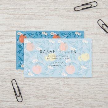 blue apple floral pattern teacher business card