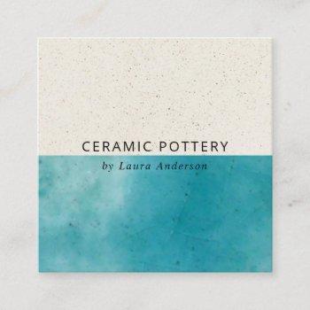 blue aqua ceramic pottery glazed speckled texture square business card