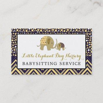 blue boho elephant, babysitter, daycare, nursery business card