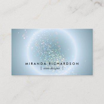 blue celestial confetti circle event planner business card