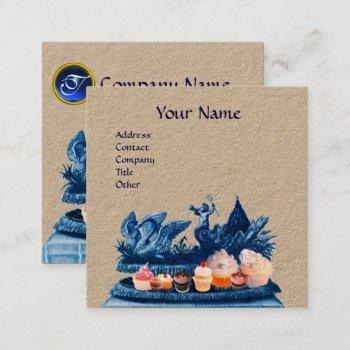 blue chariot of swans,cupcakes and pastry kraft square business card