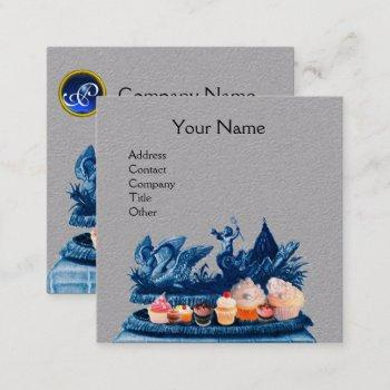 blue chariot of swans,cupcakes,pastry grey paper square business card