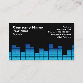 blue digital equalizer leds business card