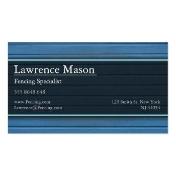 Small Blue Fencing / Boarding Business Card Back View