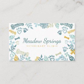 blue floral & foliage pet paw print pattern business card