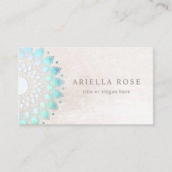 blue floral mandala lotus white marble business card