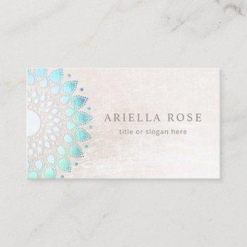 blue floral mandala lotus white marble business card