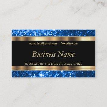 blue glitter and elegant gold business card