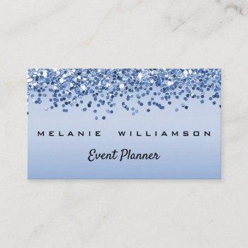 blue glitter event planner business card