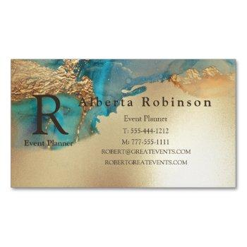 blue gold marble elegant business card magnet