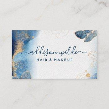 blue gold watercolor botanical leaves abstract business card