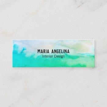 blue green abstract watercolor mini business card