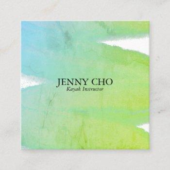 blue green texture inky paint stripe brush stroke square business card