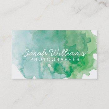 blue + green watercolor business card