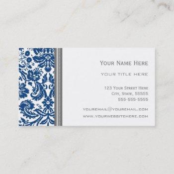 blue grey damask floral business cards