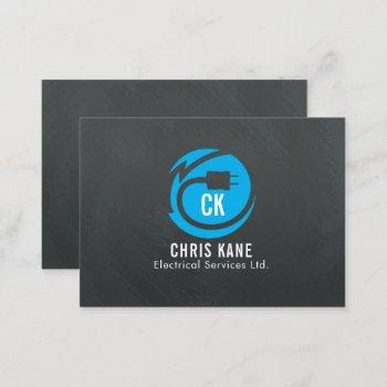 blue & grey electrician logo design business card