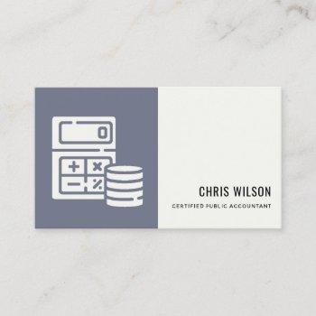 blue grey modern calculator coin accounting icon business card
