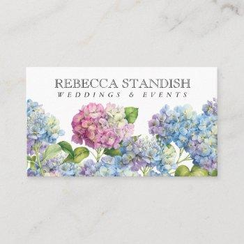 blue hydrangea floral elegant professional business card