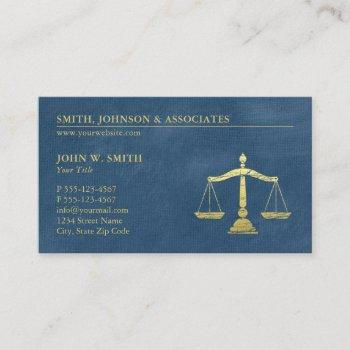 blue lawyer scales of justice gold effect canvas business card