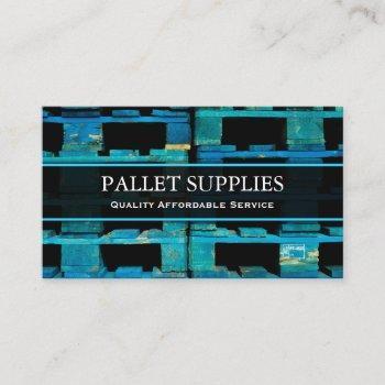blue logistics pallet, photo - business card