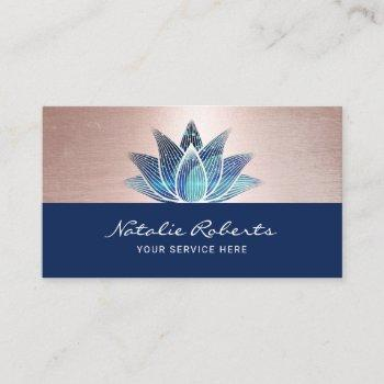 blue lotus flower yoga instructor massage therapy business card