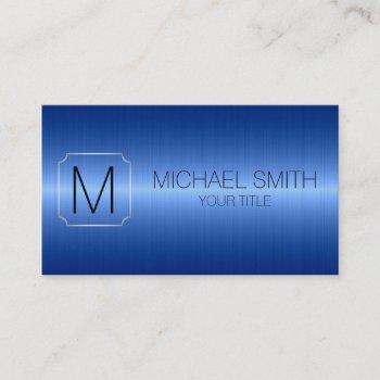 blue luxury stainless steel metal monogram business card