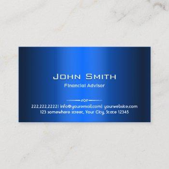 blue metal financial advisor business card