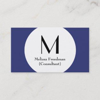 blue modern circle custom monogram business cards