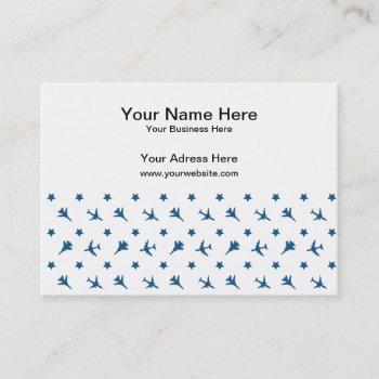blue planes pattern business card