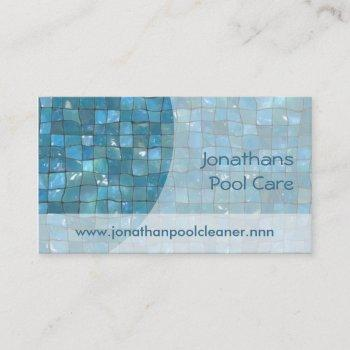 blue pool tiles under sparkling water business card