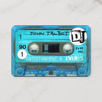 blue retro t4 audiotape cassette 80s dj business c business card