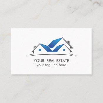 blue roof house real estate agent professional business card