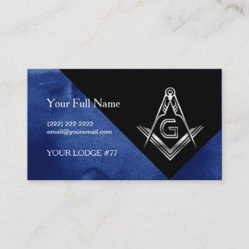 blue silver masonic business cards, square compass business card