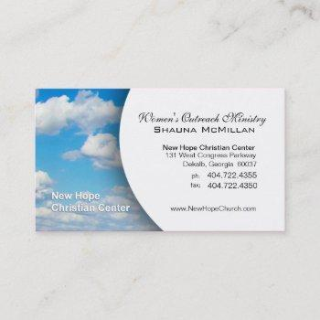 blue sky & clouds christian minister/pastor business card