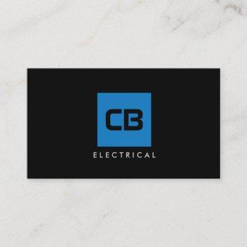 blue square monogram construction, electrical business card