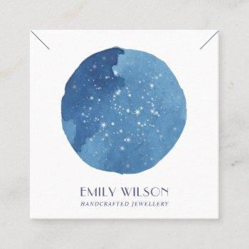 blue star watercolor circle stud earring display square business card