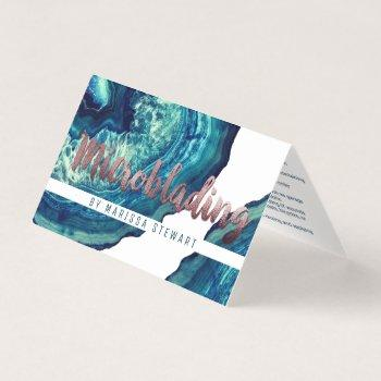blue teal agate geode stone rose gold microblading business card