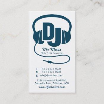 blue teal and white dj promoter business card